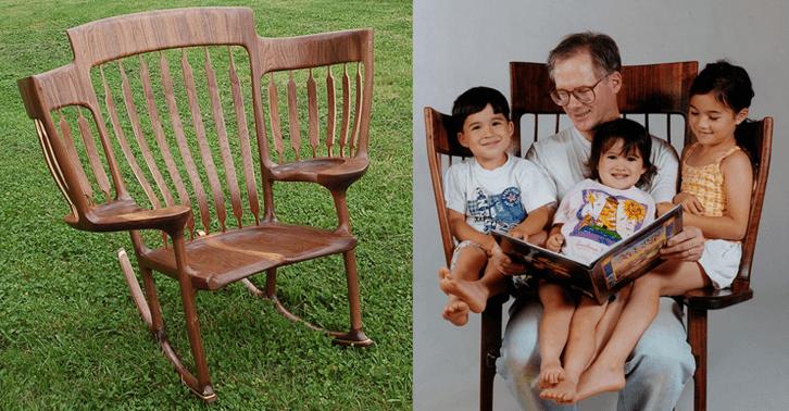 Pai constrói cadeira especial para contar histórias para os três filhos